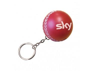 Cricket Ball Logo Imprinted Stress Keyrings